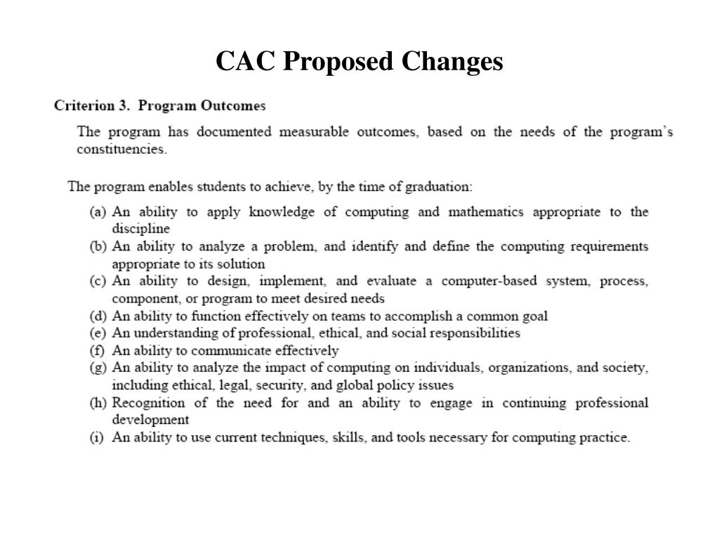CAC Proposed Changes