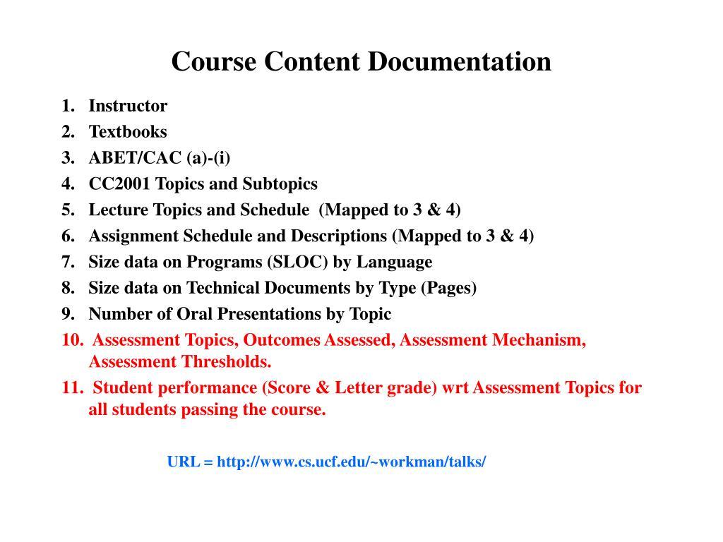 Course Content Documentation