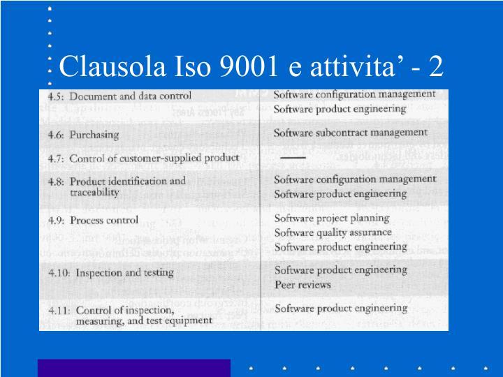 Clausola Iso 9001 e attivita' - 2