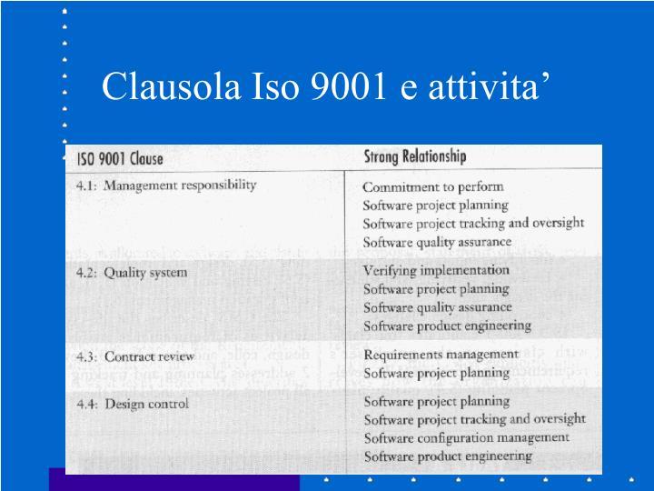 Clausola Iso 9001 e attivita'