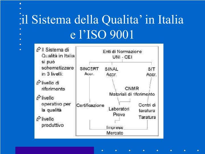 il Sistema della Qualita' in Italia e l'ISO 9001