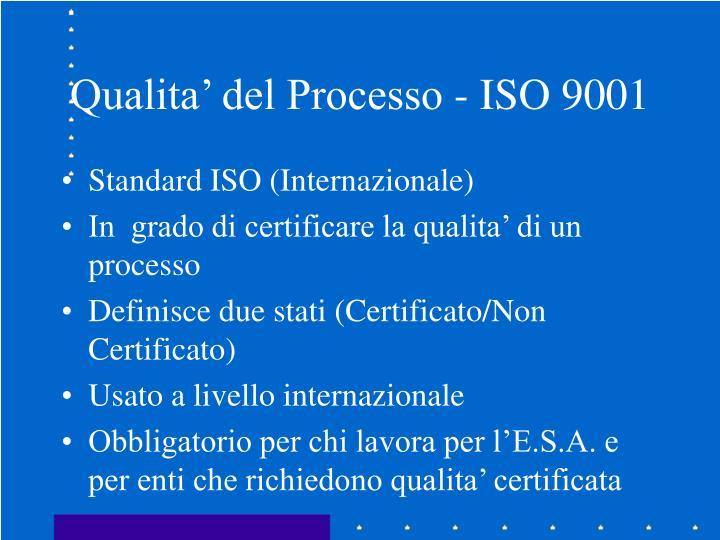 Qualita' del Processo - ISO 9001