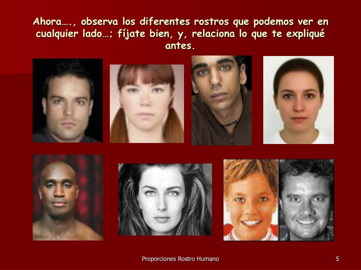 Ahora…., observa los diferentes rostros que podemos ver en cualquier lado…; fíjate bien, y, relaciona lo que te expliqué antes.