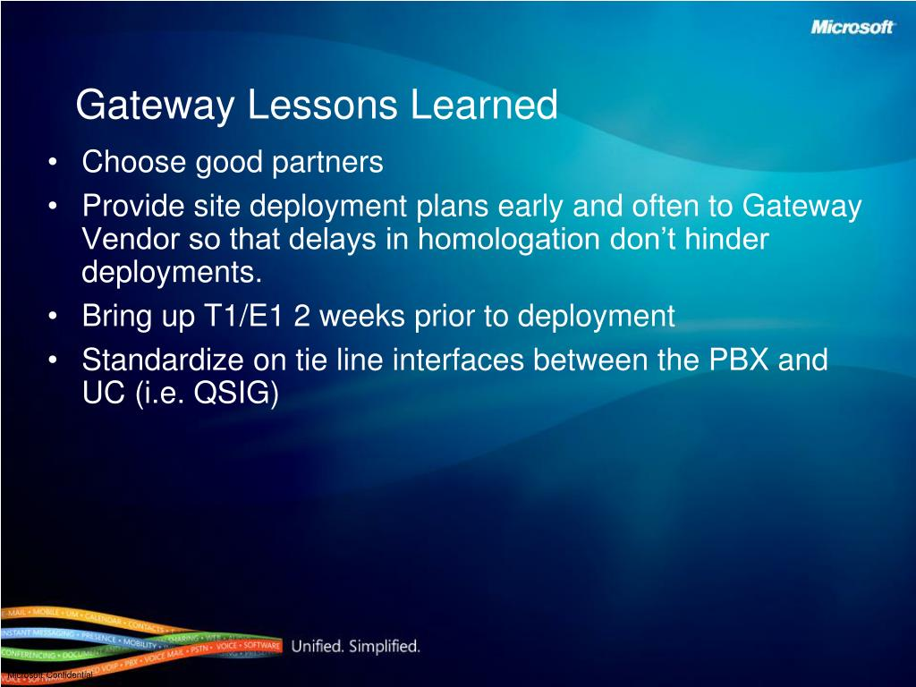 Gateway Lessons Learned