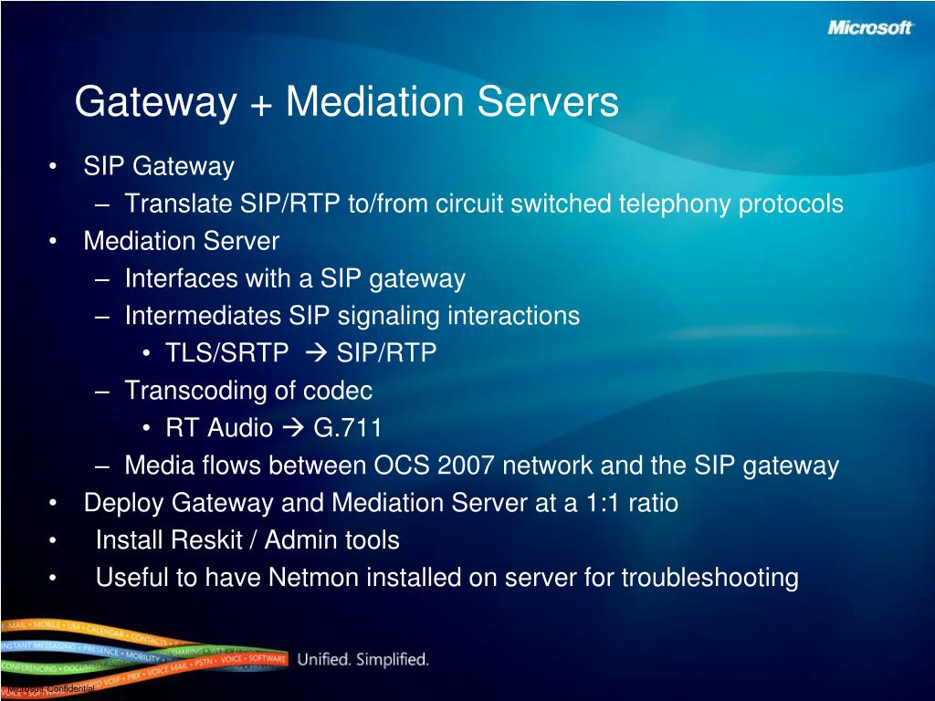 Gateway + Mediation Servers