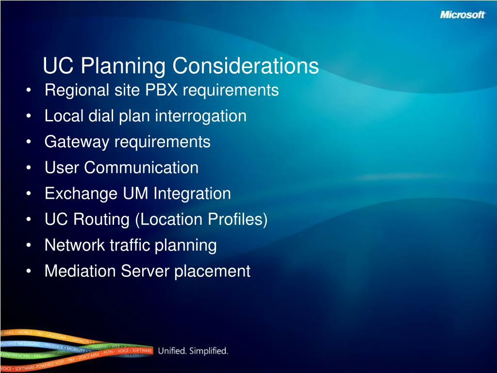UC Planning Considerations