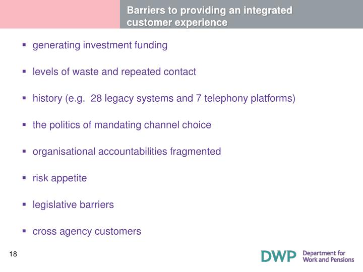 Barriers to providing an integrated