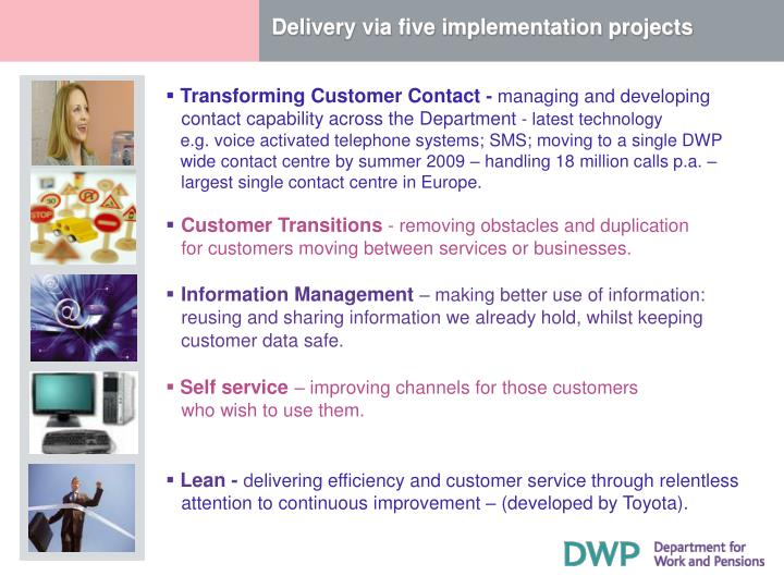 Delivery via five implementation projects