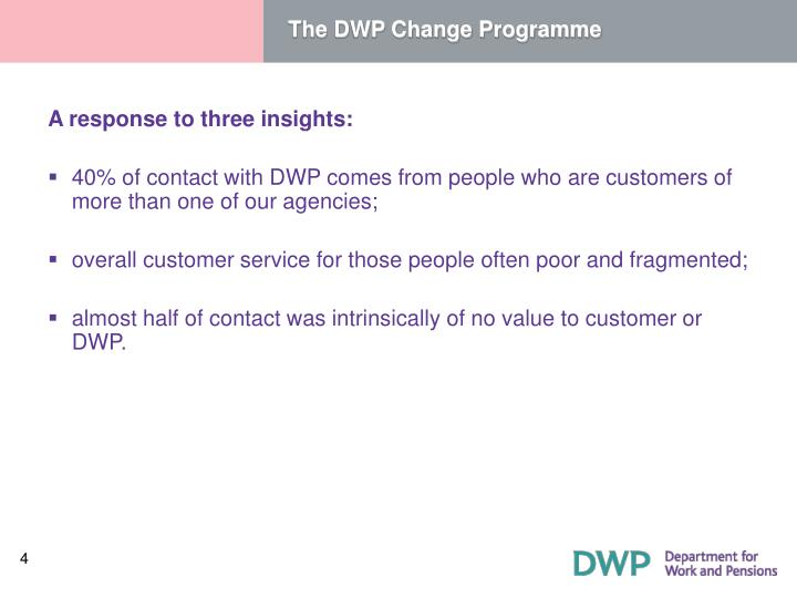 The DWP Change Programme