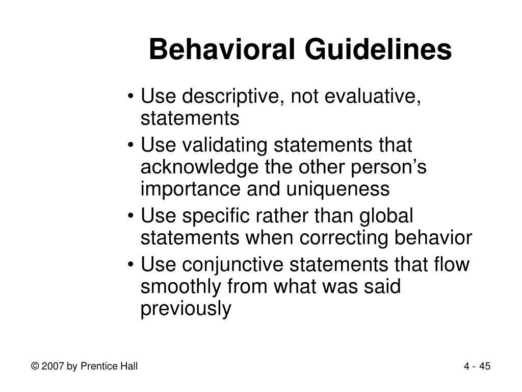 Behavioral Guidelines