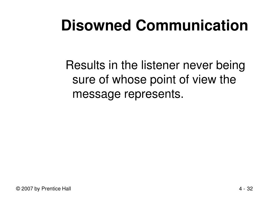 Disowned Communication