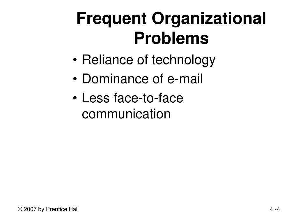 Frequent Organizational Problems