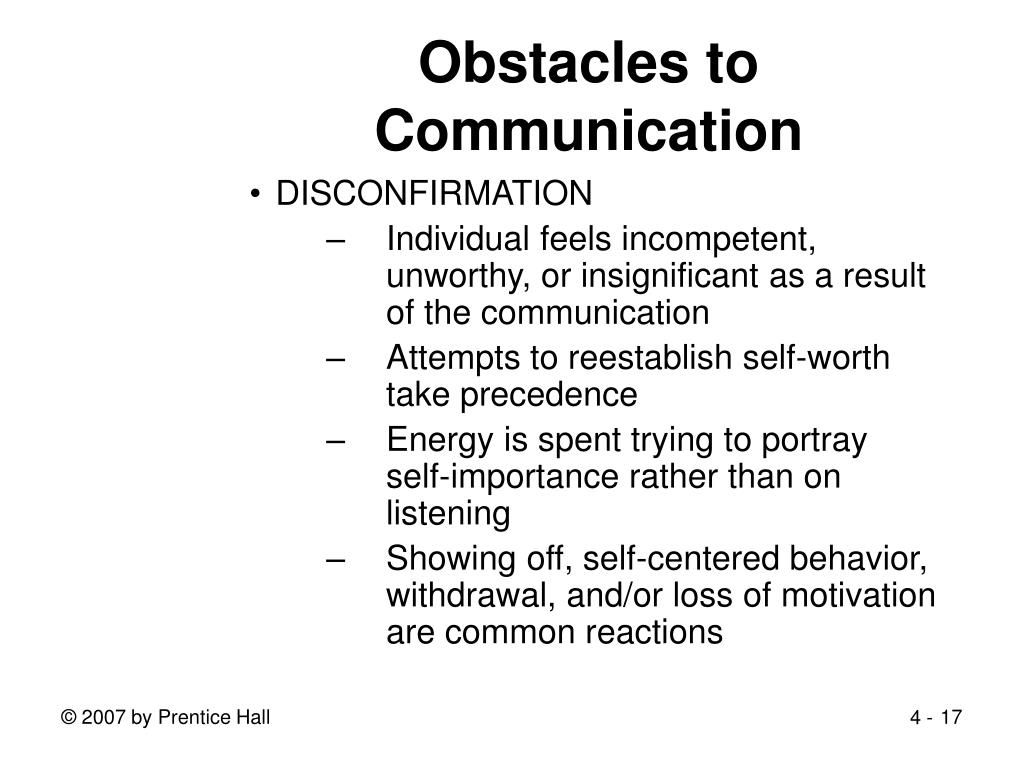 Obstacles to Communication