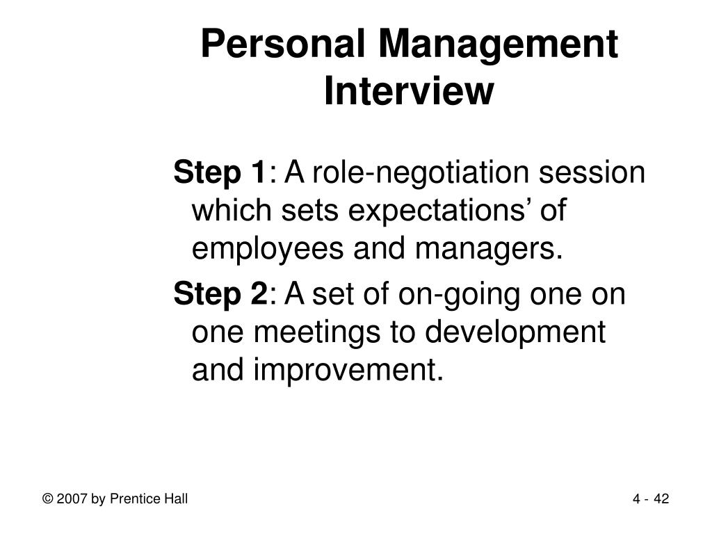 Personal Management Interview
