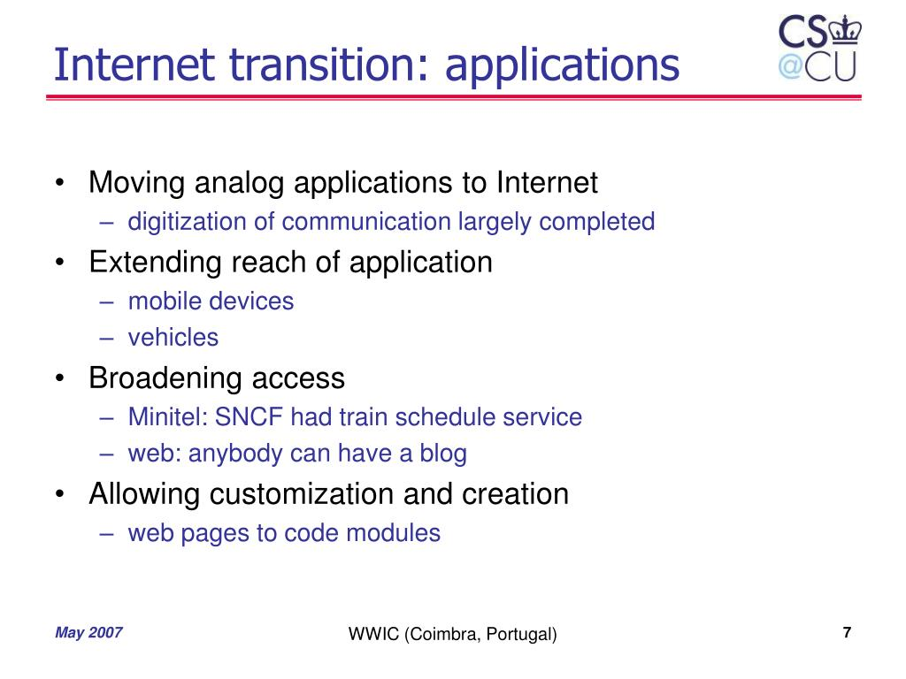Internet transition: applications