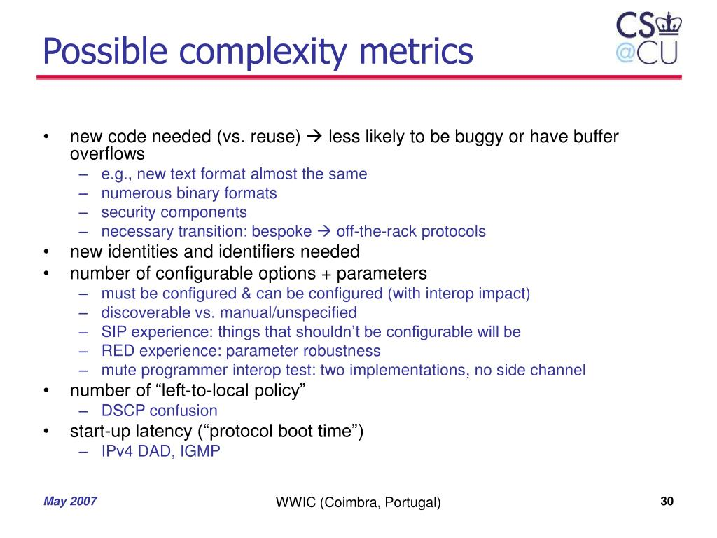 Possible complexity metrics