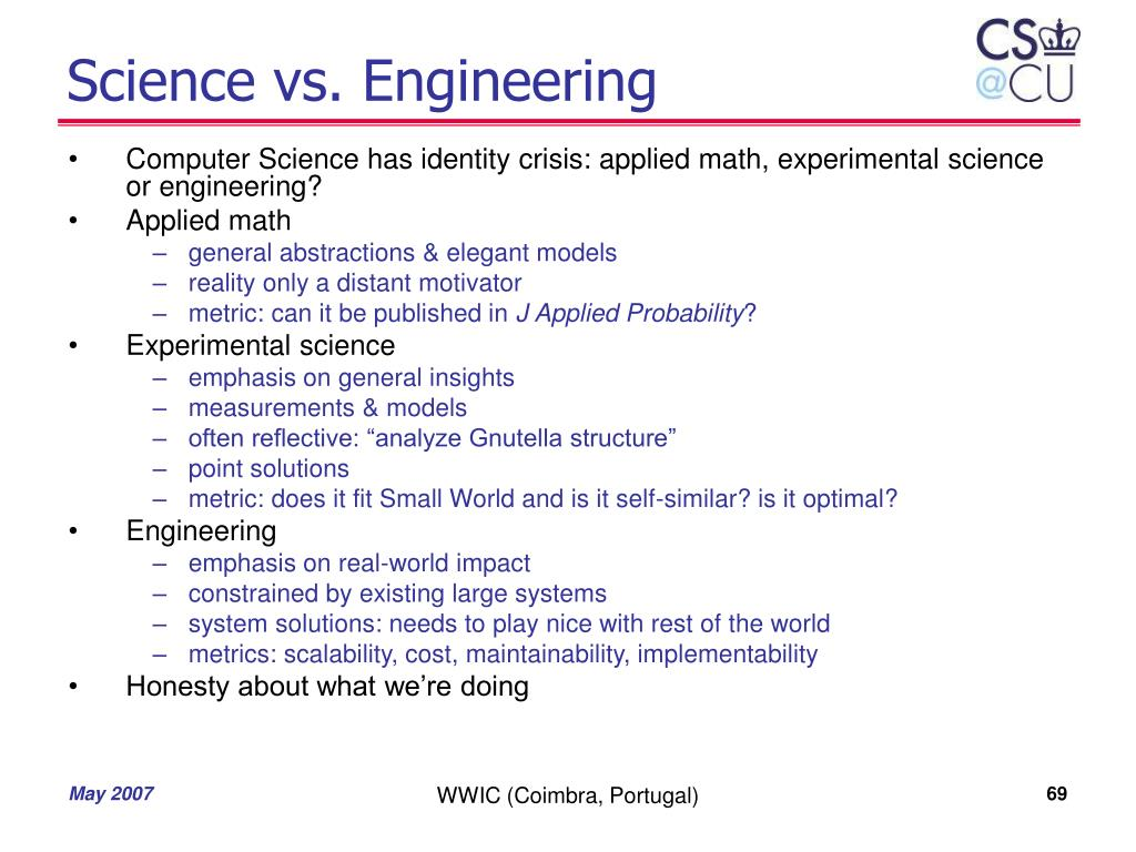Science vs. Engineering