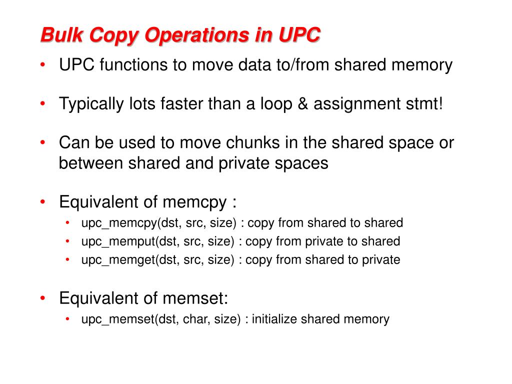 Bulk Copy Operations in UPC