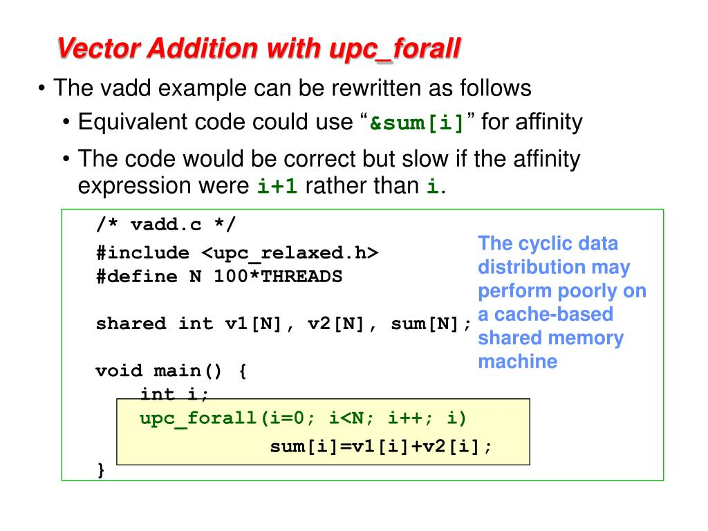 Vector Addition with upc_forall