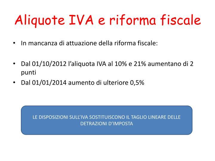 Aliquote IVA e riforma fiscale
