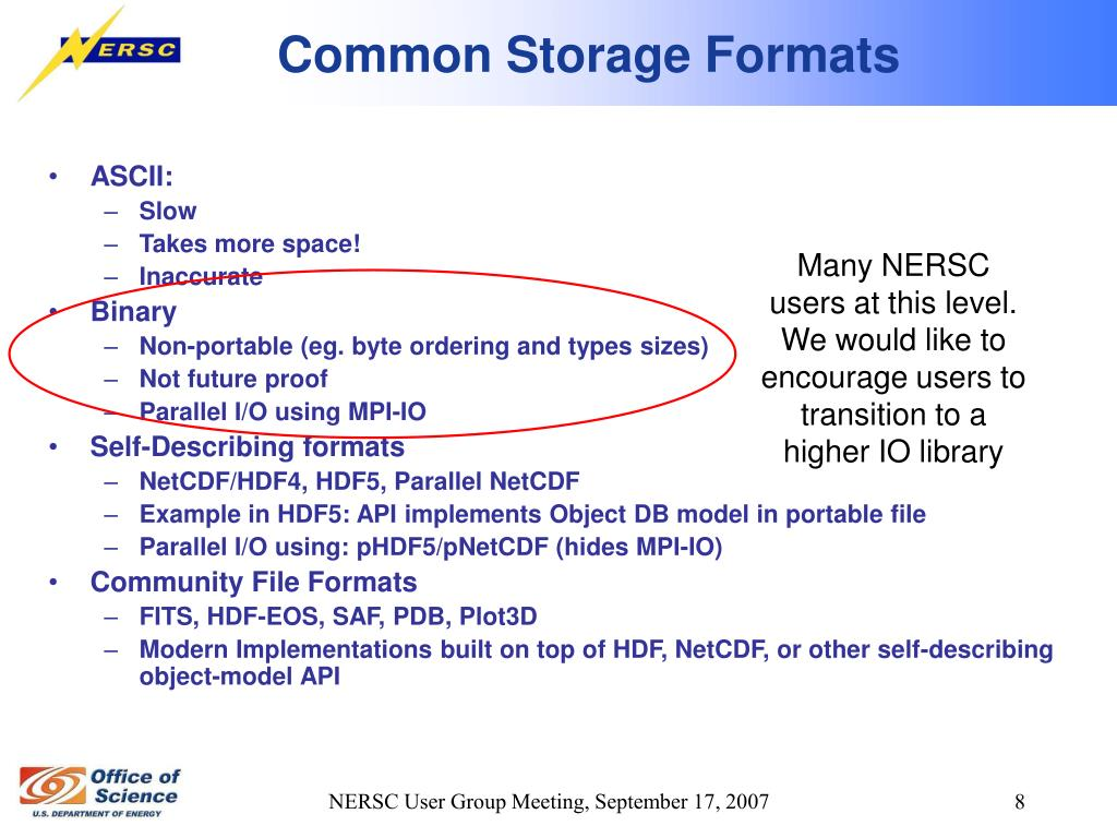 Many NERSC users at this level.  We would like to encourage users to transition to a higher IO library