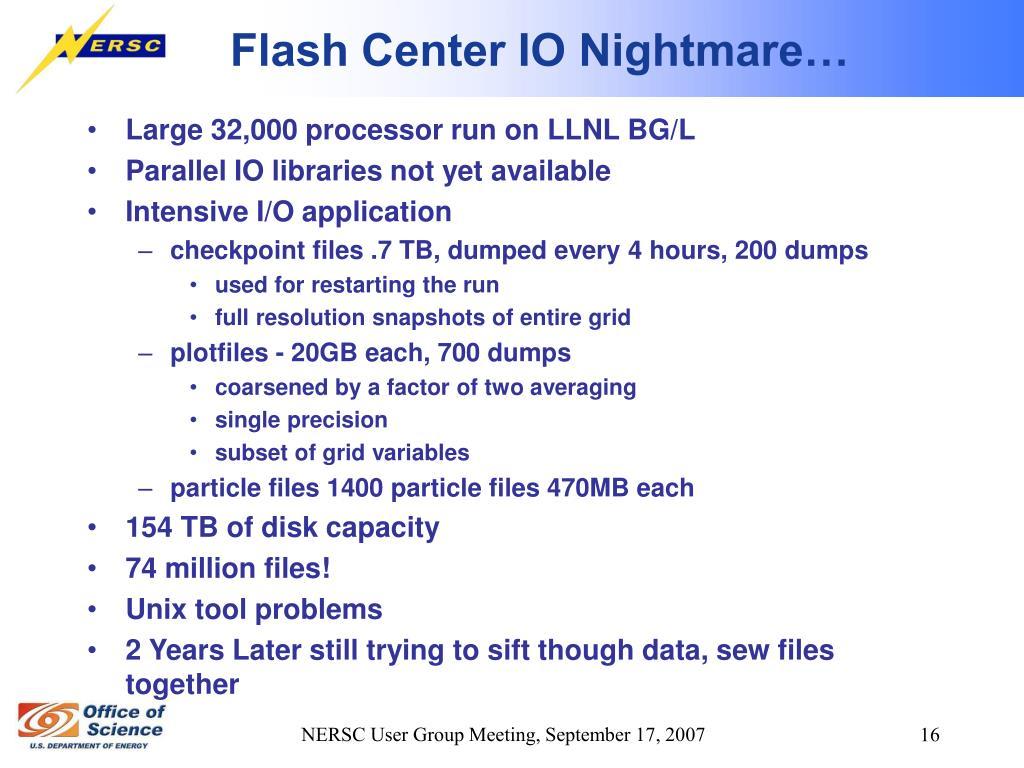 Flash Center IO Nightmare…