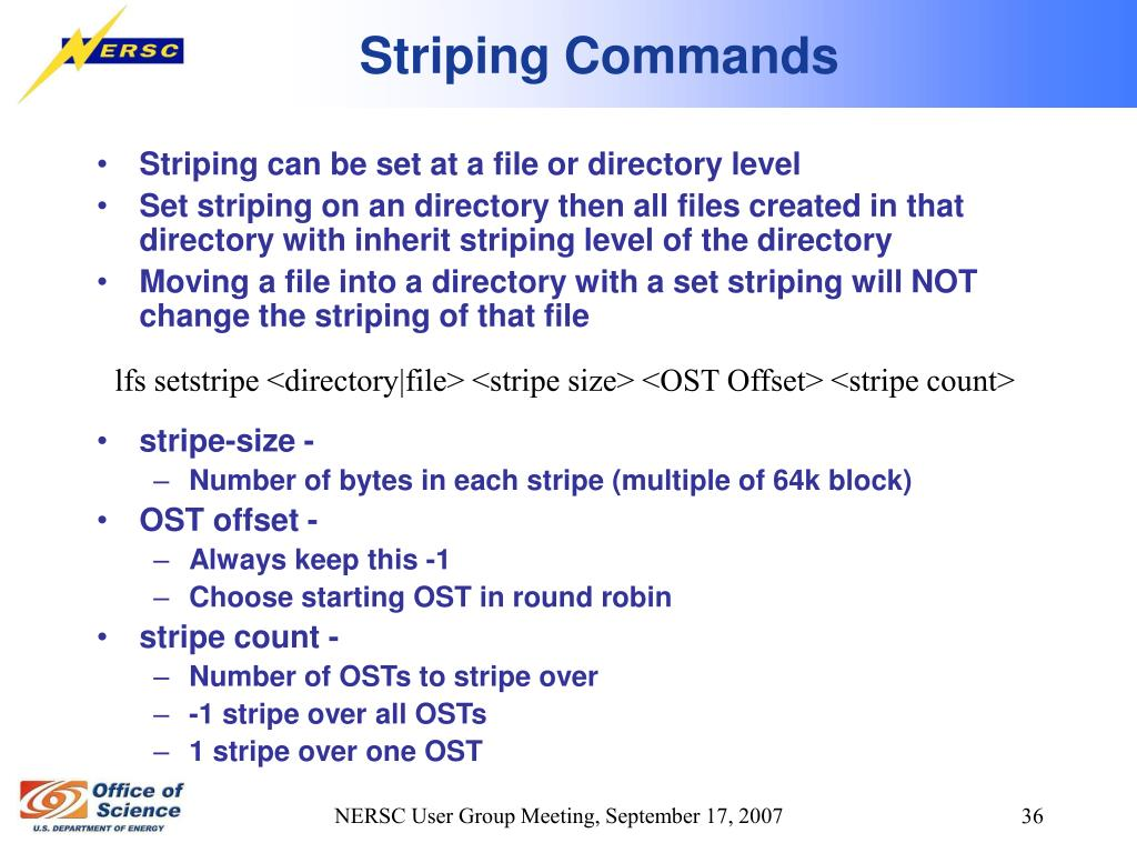 Striping Commands