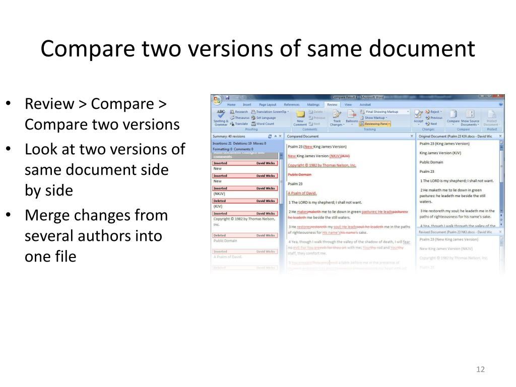 Compare two versions of same document