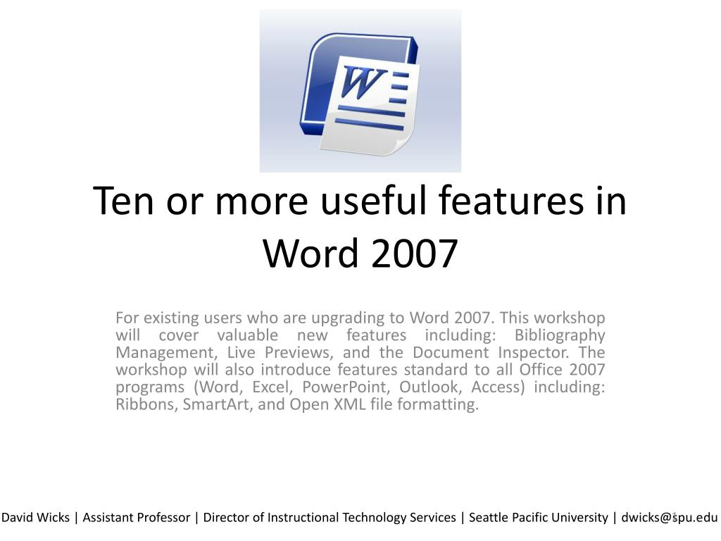 ten or more useful features in word 2007