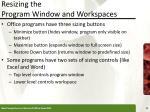 resizing the program window and workspaces