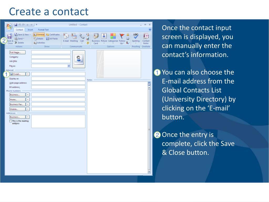 Create a contact