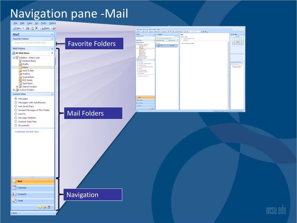 Navigation pane -Mail