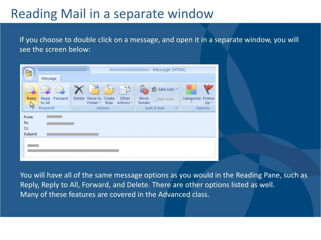 Reading Mail in a separate window