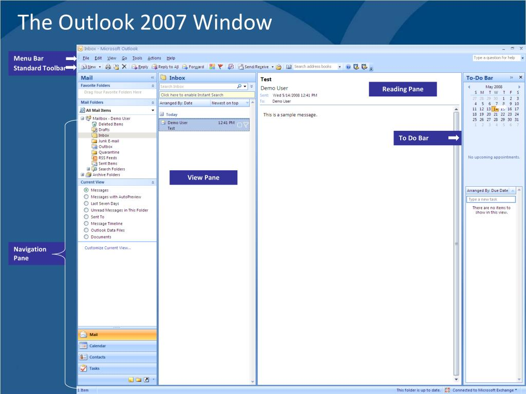 The Outlook 2007 Window
