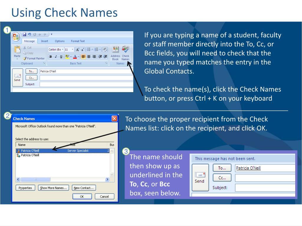 Using Check Names