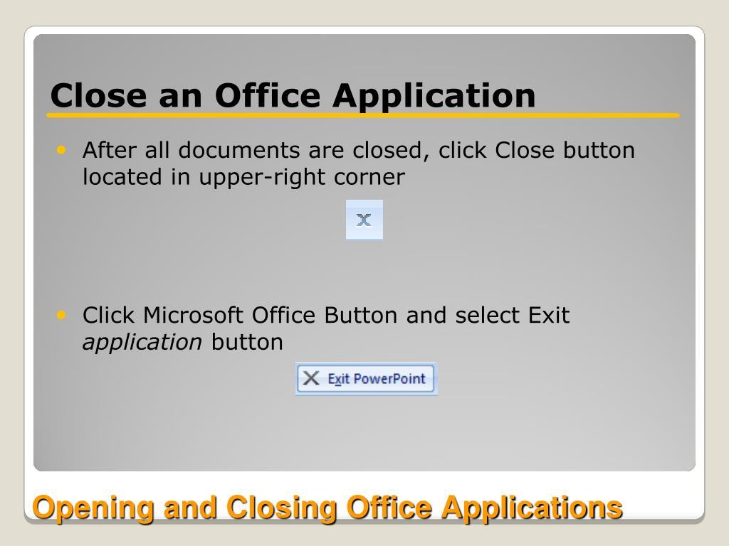 Close an Office Application