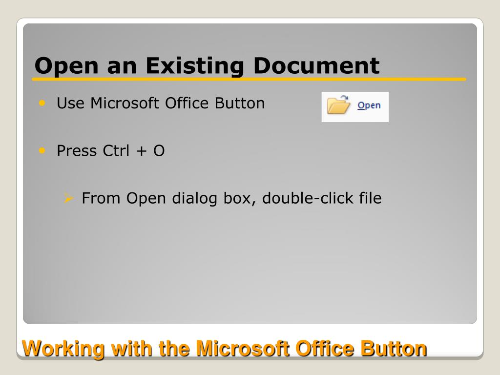 Open an Existing Document