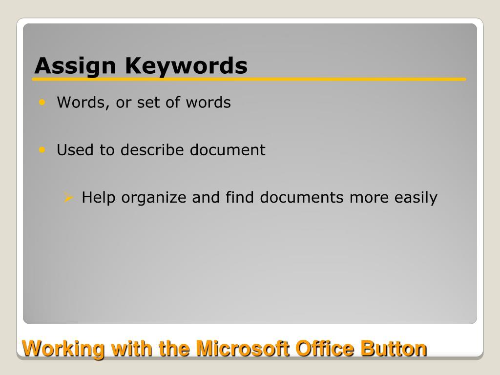 Assign Keywords