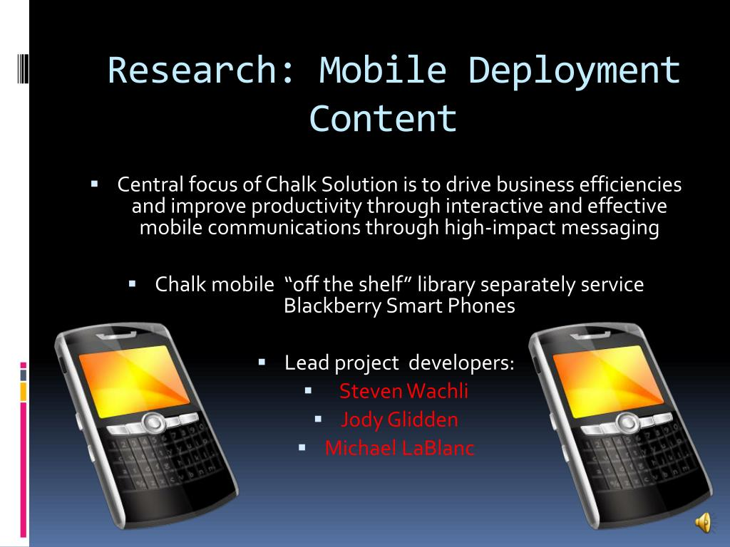 Research: Mobile Deployment Content
