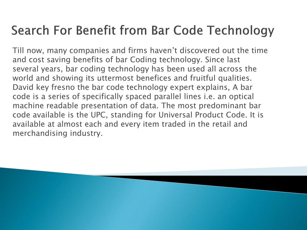 Search For Benefit from Bar Code Technology