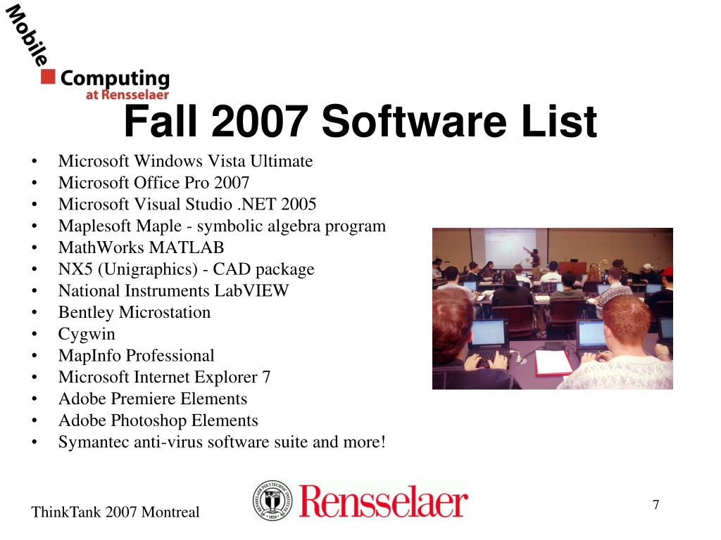 Fall 2007 Software List