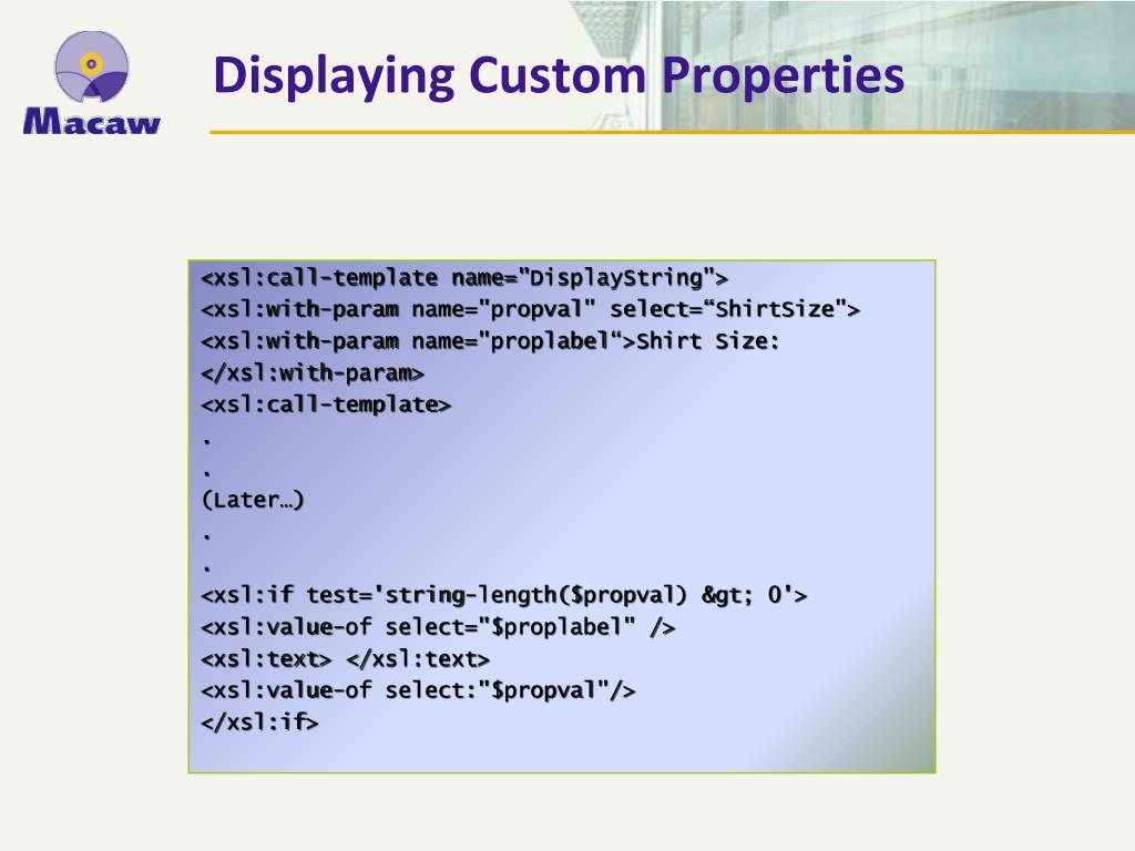 Displaying Custom Properties