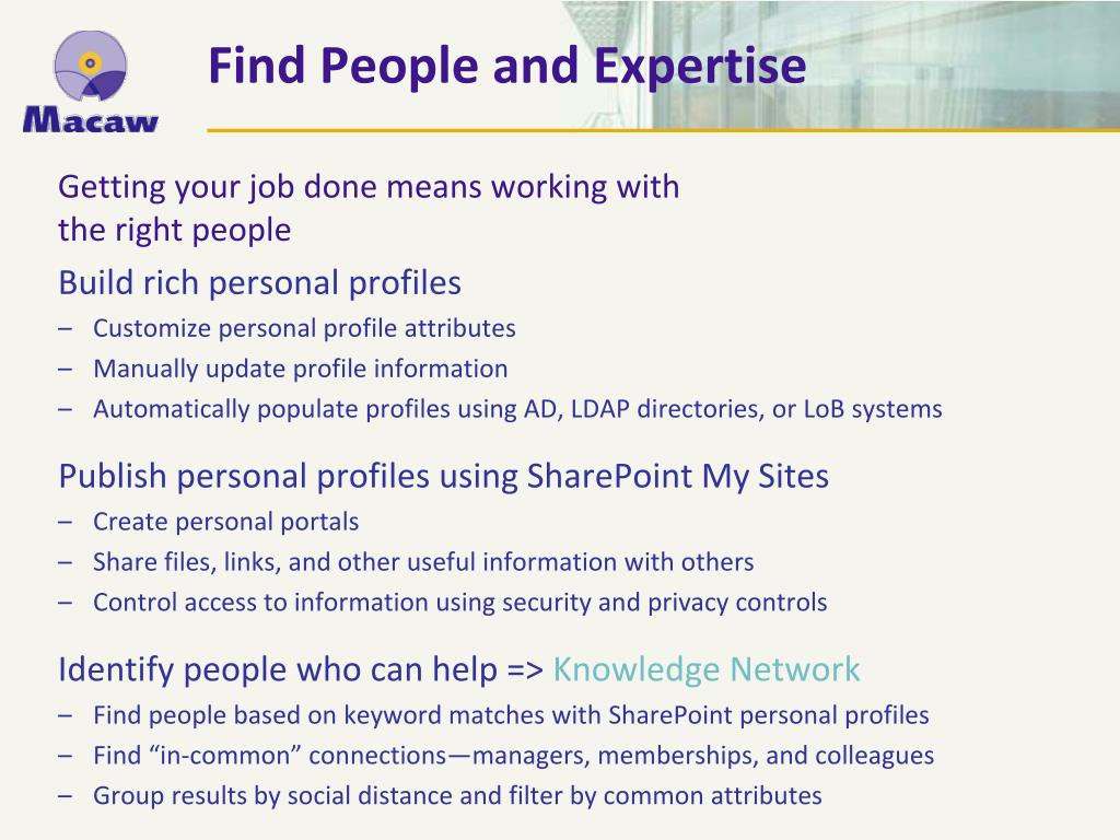 Find People and Expertise