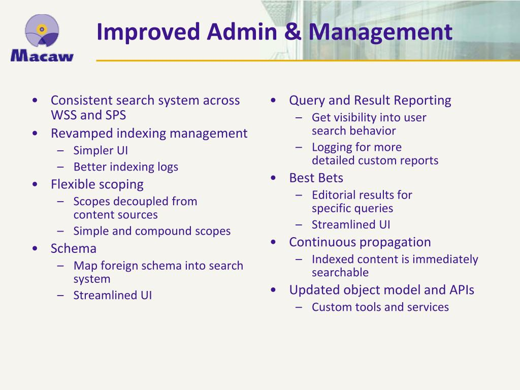 Improved Admin & Management