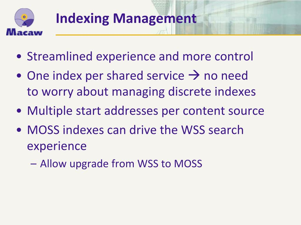 Indexing Management