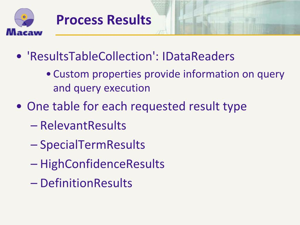 'ResultsTableCollection': IDataReaders