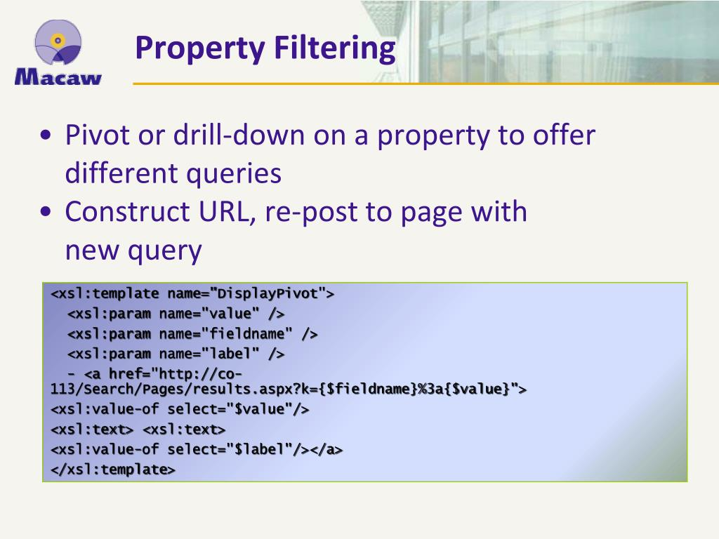Pivot or drill-down on a property to offer different queries