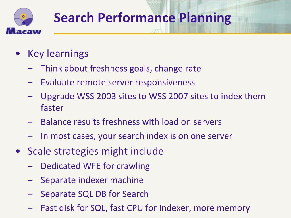 Search Performance Planning