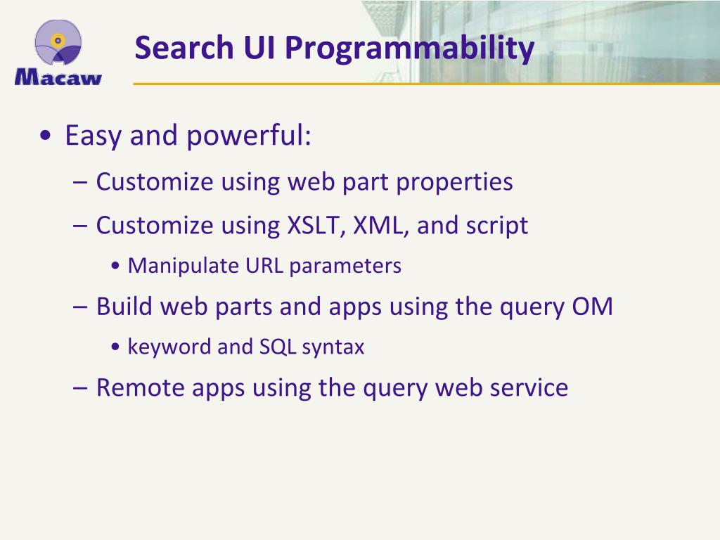 Search UI Programmability
