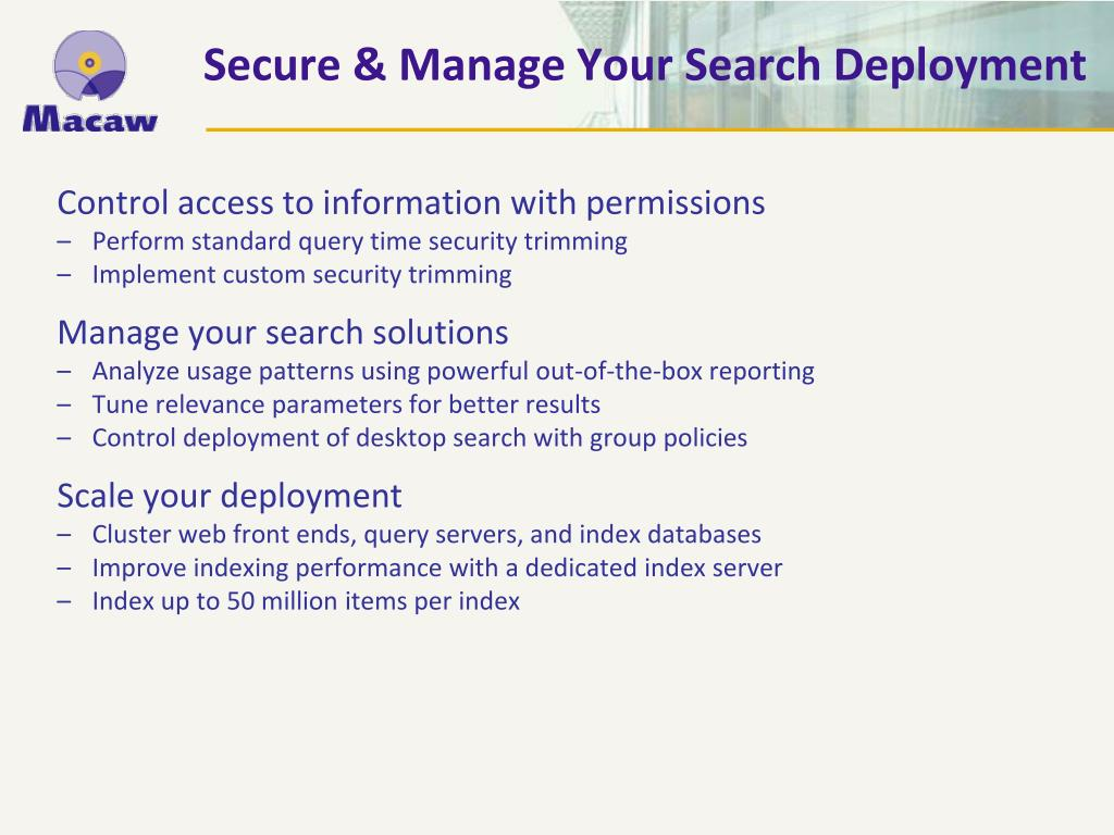 Secure & Manage Your Search Deployment
